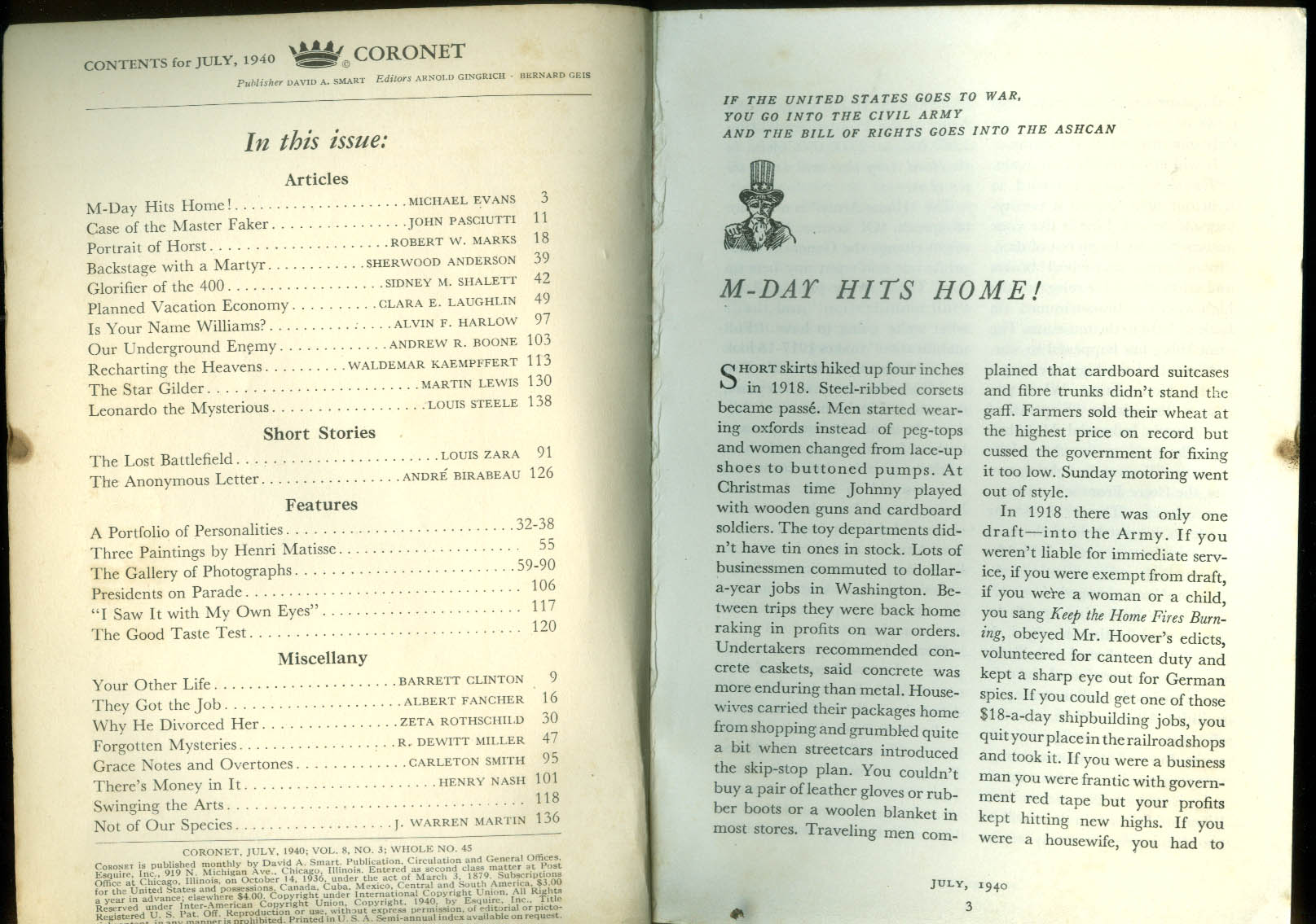 CORONET 7 1940 Dossena da Vinci James Wong Howe Brassai Horst Kertesz Lange