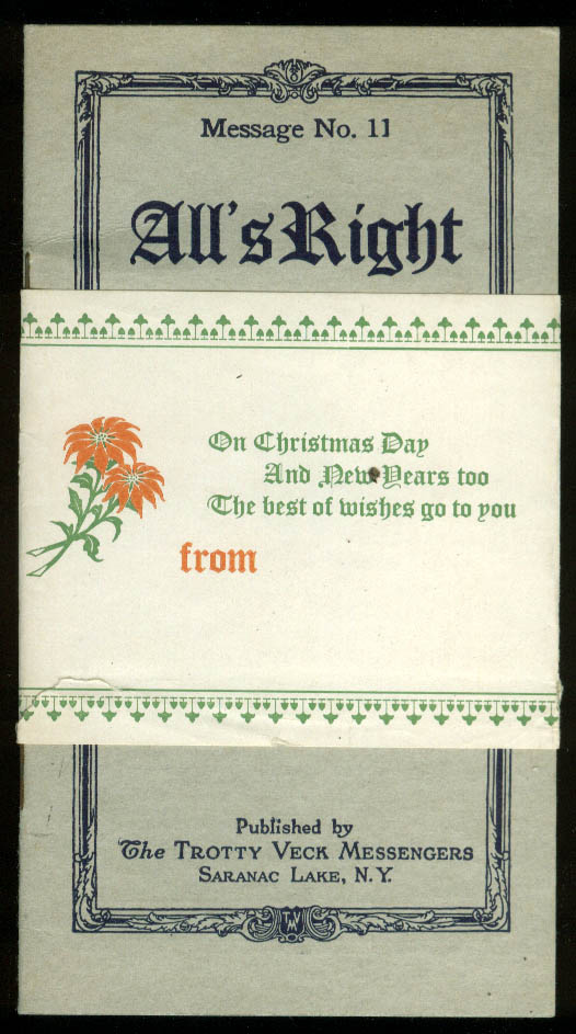 Trotty Veck Messengers Message #11 All's Right 1922 with Christmas wrapper