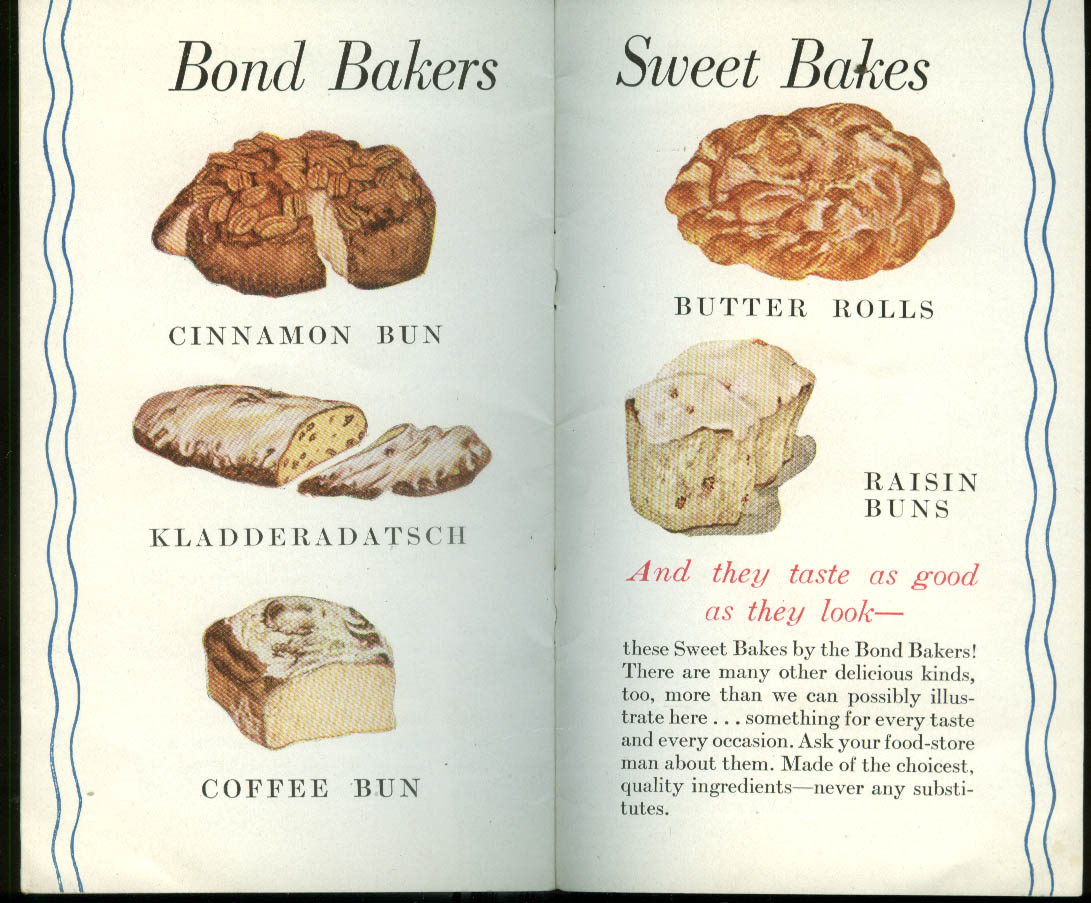 Here's the Whole Bond Bakers Family booklet 1937 bread cake buns
