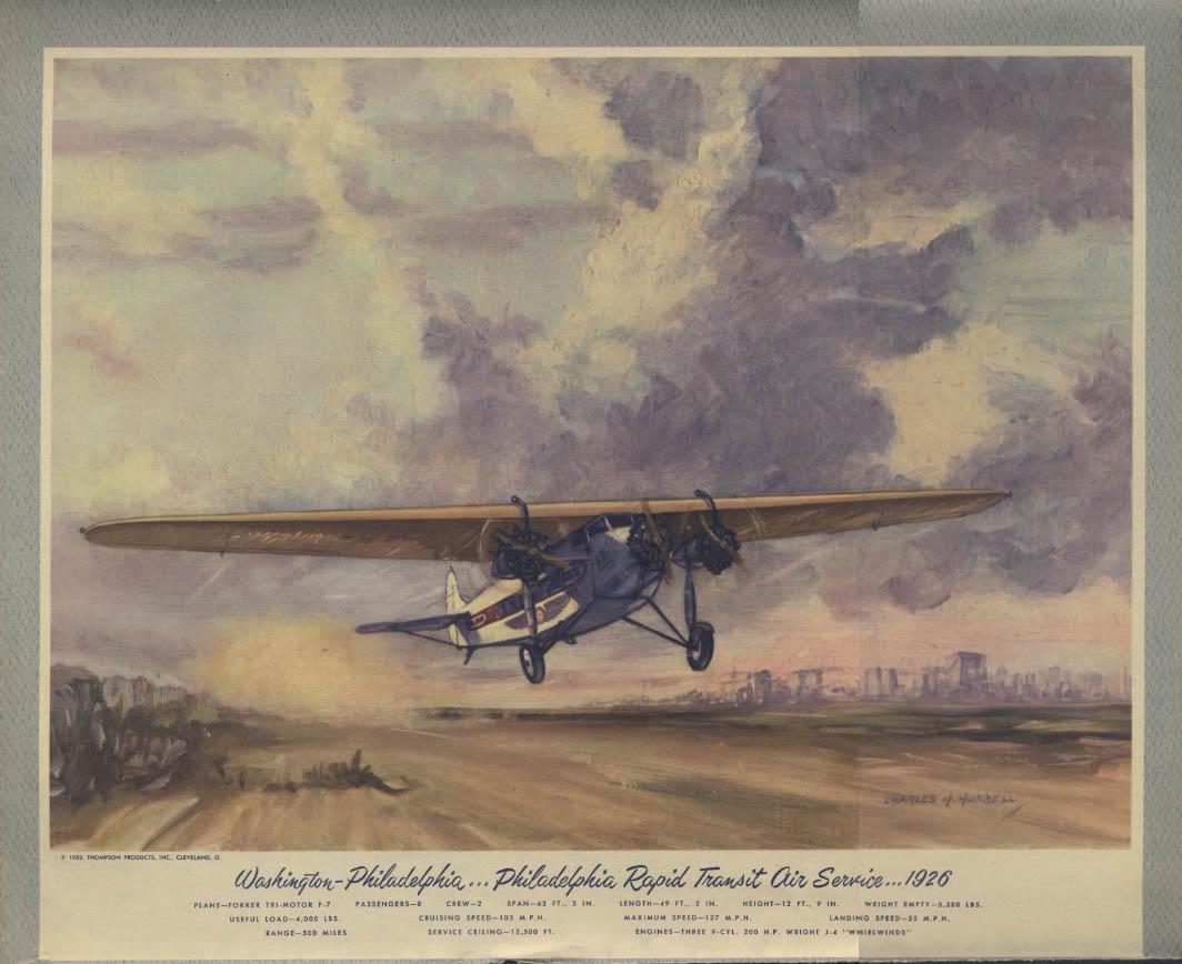 1926 Philadelphia Rapid Transit Air Fokker F-7 Hubbell calendar print 1953