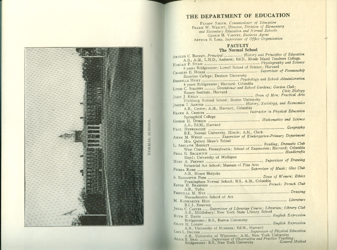 Bridgewater State Normal School Bulletin 1930 curriculum students faculty etc