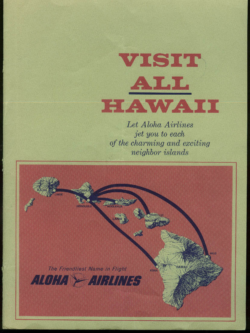 Aloha Airlines Visit ALL Hawaii Alohajet BAC One-Eleven airline ad insert 1970s