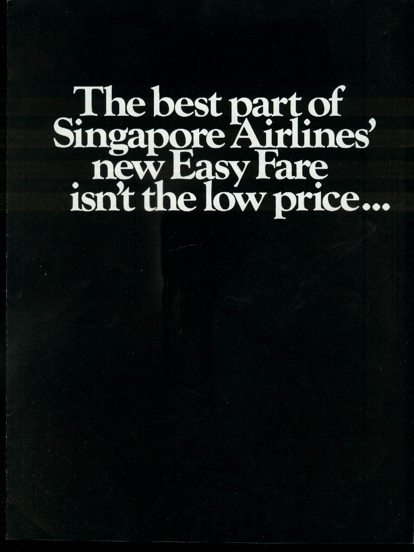 Singapore Airlines Easy Fare Unlimited Capacity airline folder 1970s