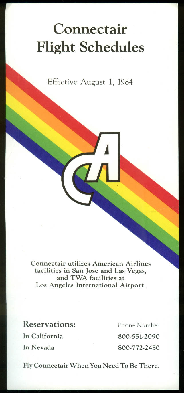 Connectair airline timetable card 1984 Santa Barbara-Vegas-LA-San Jose