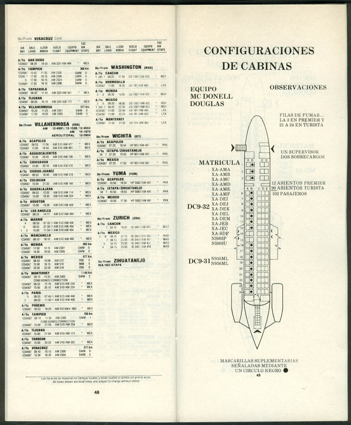 Aeromexico Airline Timetable 10/25 1992 with cabin seating plans
