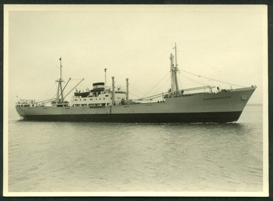Cargo Motorship M S Niedersachsen real photo specifications card 1954