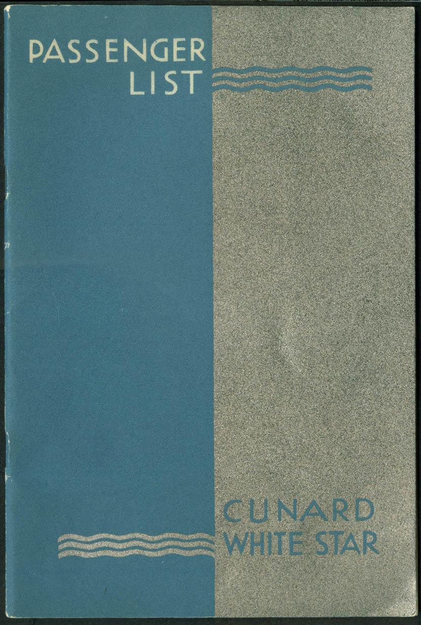Cunard White Star M V Georgic One Class Passenger List NY-Cobh-Liverpool 1950