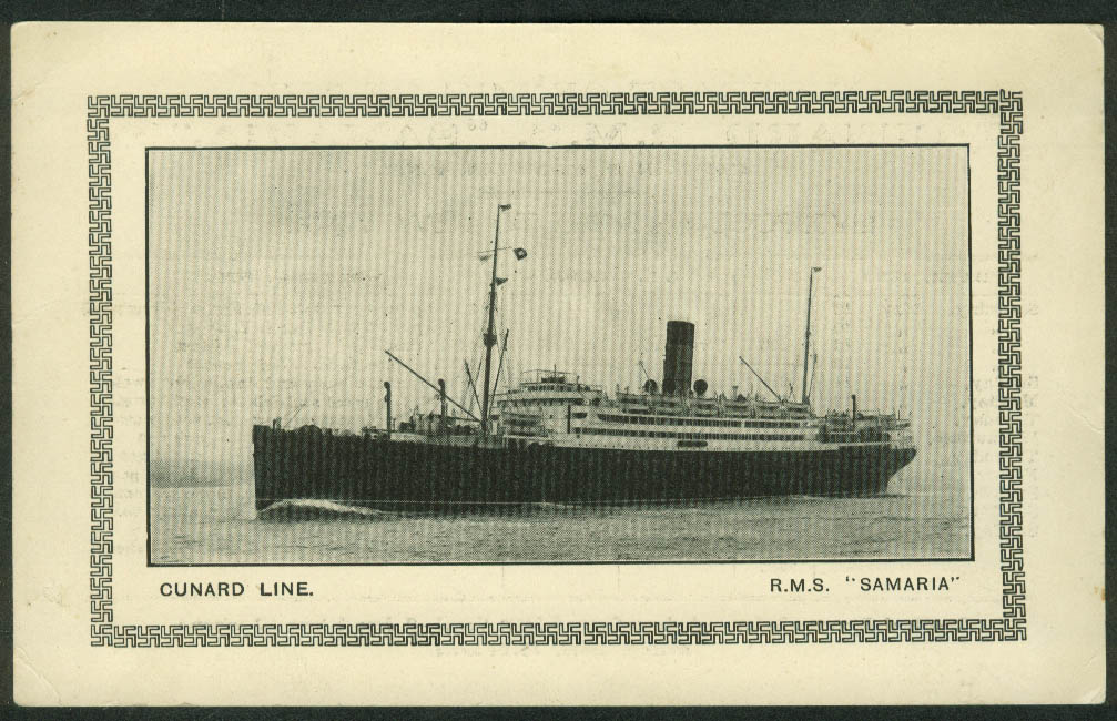 Cunard R M S Samaria Abstract of Log Liverpool-Belfast-NY 1930