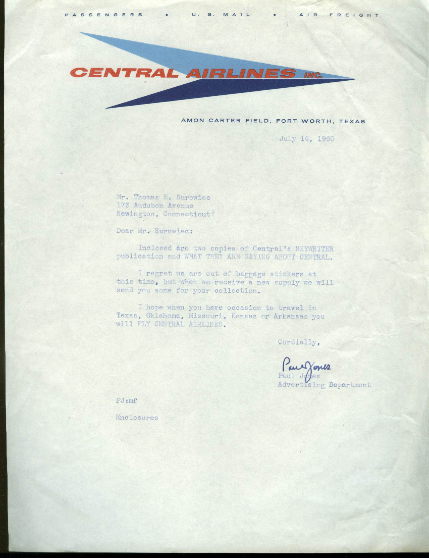 Central Airlines airline letterhead 1960 Amon Carter Field Fort Worth TX