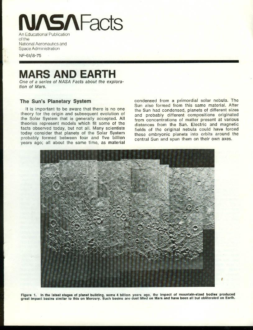NASA FACTS NF-61 8/1975 Mars & Earth: Sun's Planetary System