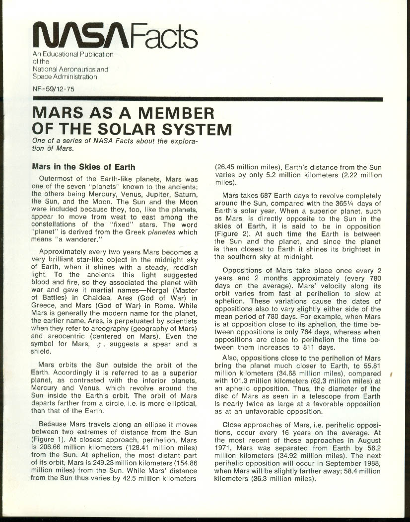 NASA FACTS NF-59 12 1975 Mars as Member of the Solar System