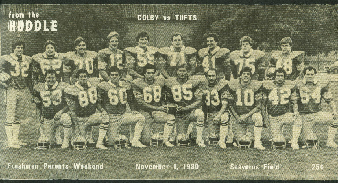 Colby College vs Tufts From the Huddle Football Game Program 11/1 1980