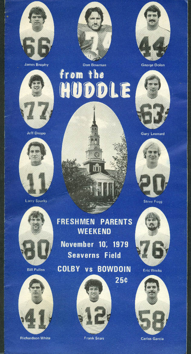 Colby College vs Bowdoin From the Huddle Football Game Program 11/10 1979