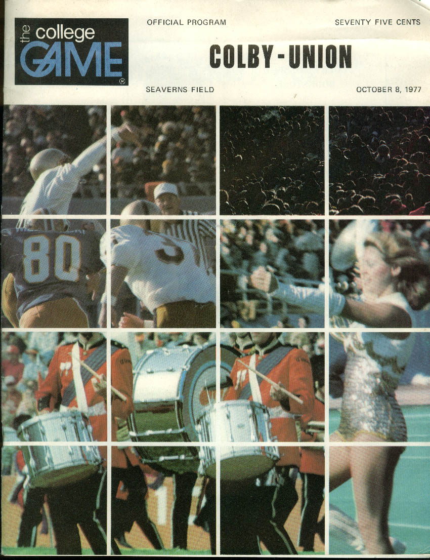 Colby College vs Union College COLLEGE GAME Football Official Program 10/8 1977