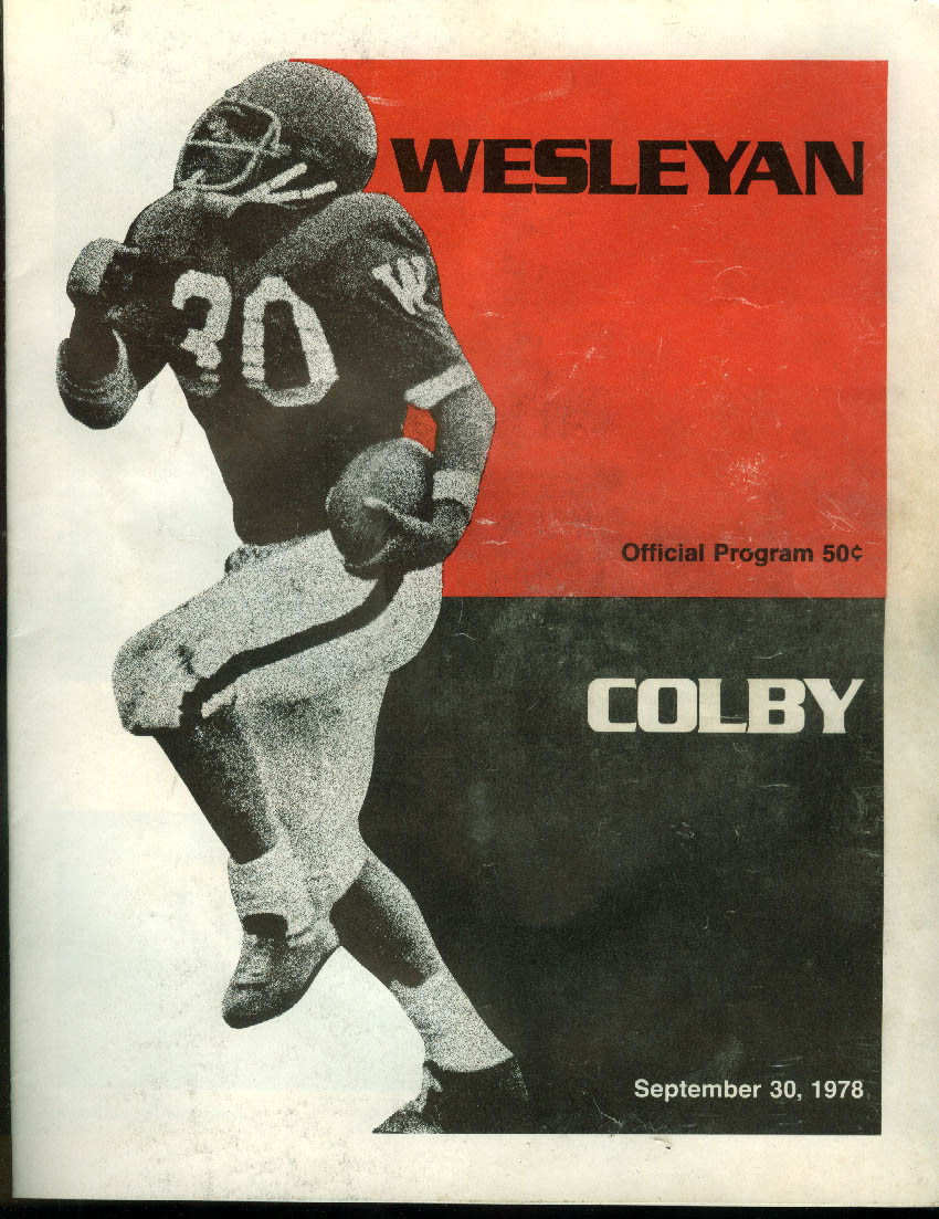 Colby vs Wesleyan College Official Football Program 9/30 1978