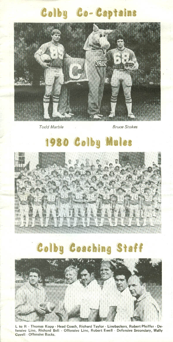 Colby College vs Union From the Huddle Football Game Program 10/4 1980