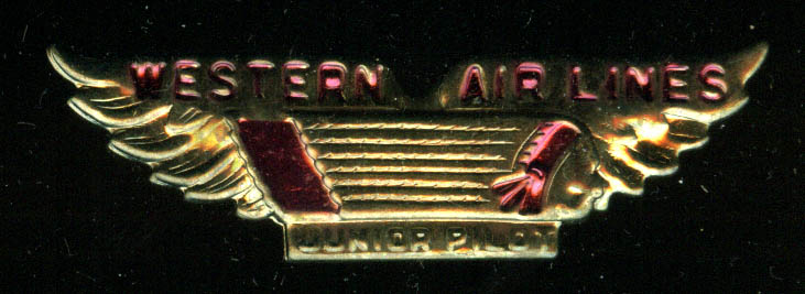 "Western Air Lines Junior Pilot all-metal kid's 2 1/4"" wide wings pinback."