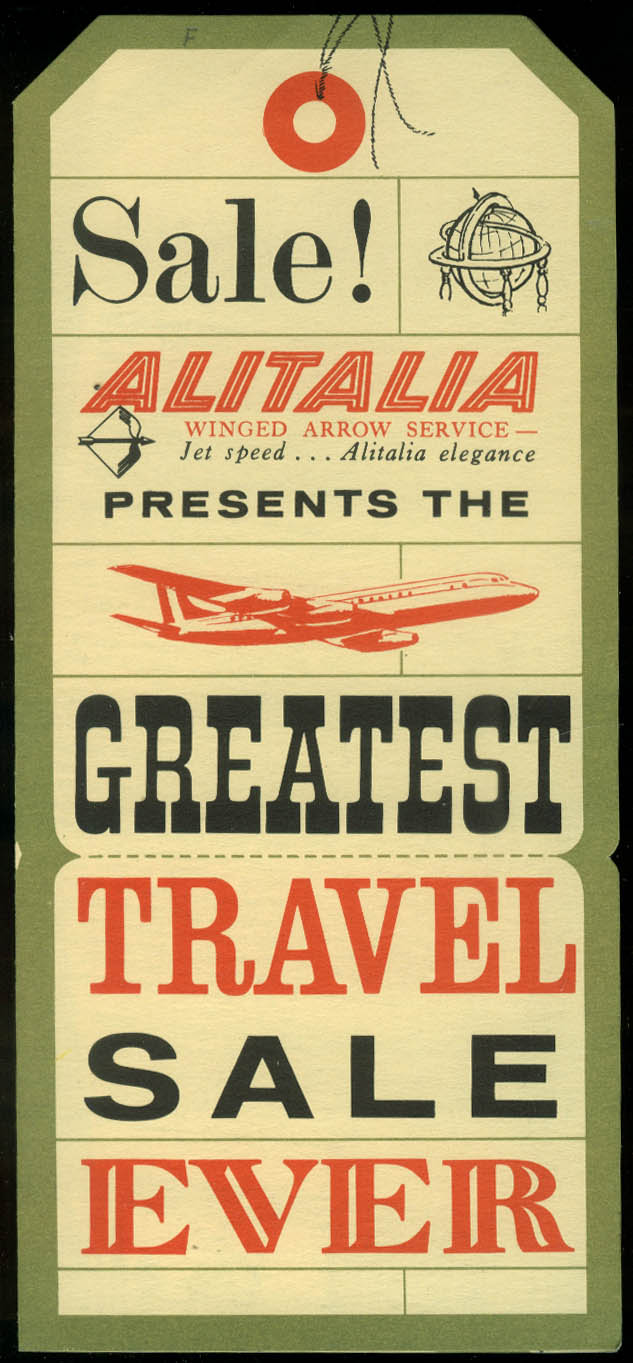 Alitalia Winged Arrow Service Greatest Travel Sale Ever airline folder 1960