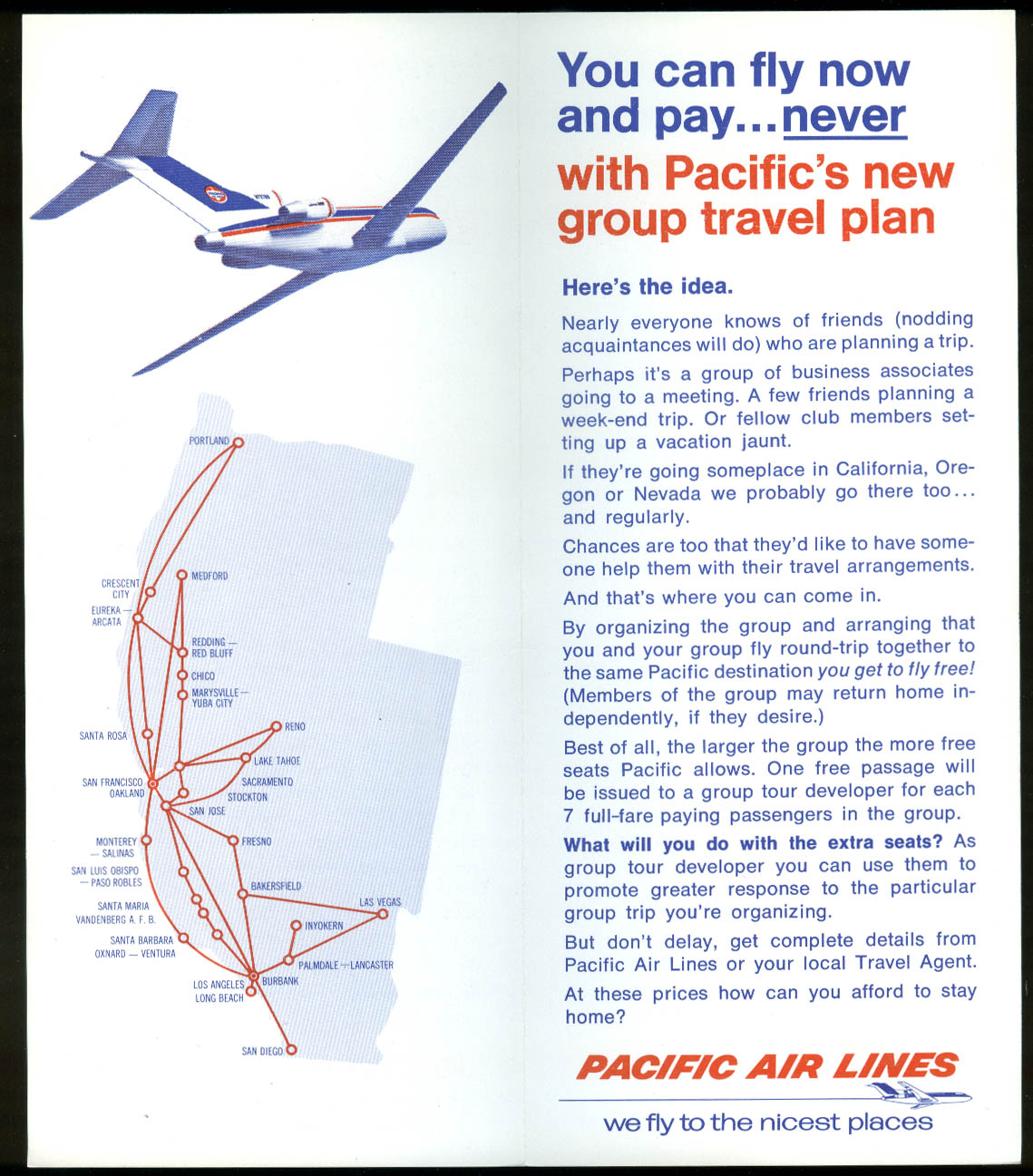 Pacific Air Lines Fly Free If You Bring Seven Others airline folder 1960s