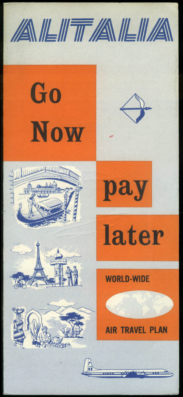 Alitalia Airlines Go No Pay Later airline folder 1950s