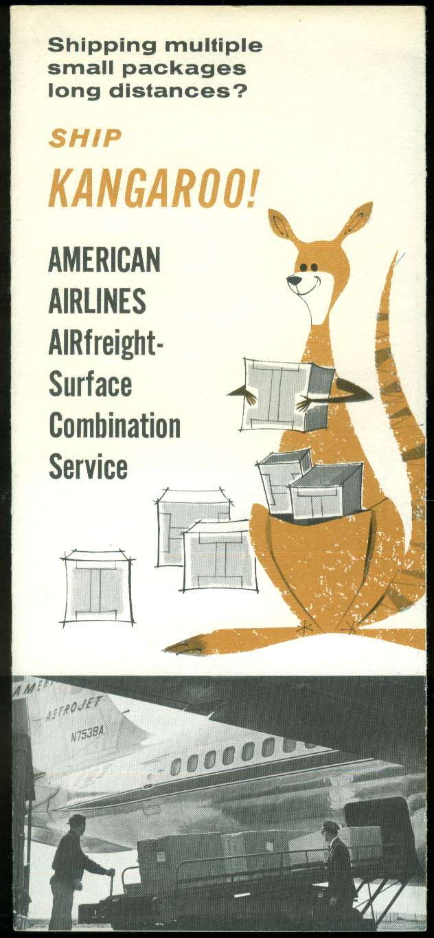 American Airlines Ship Kangaroo! Airfreight airline folder 1961
