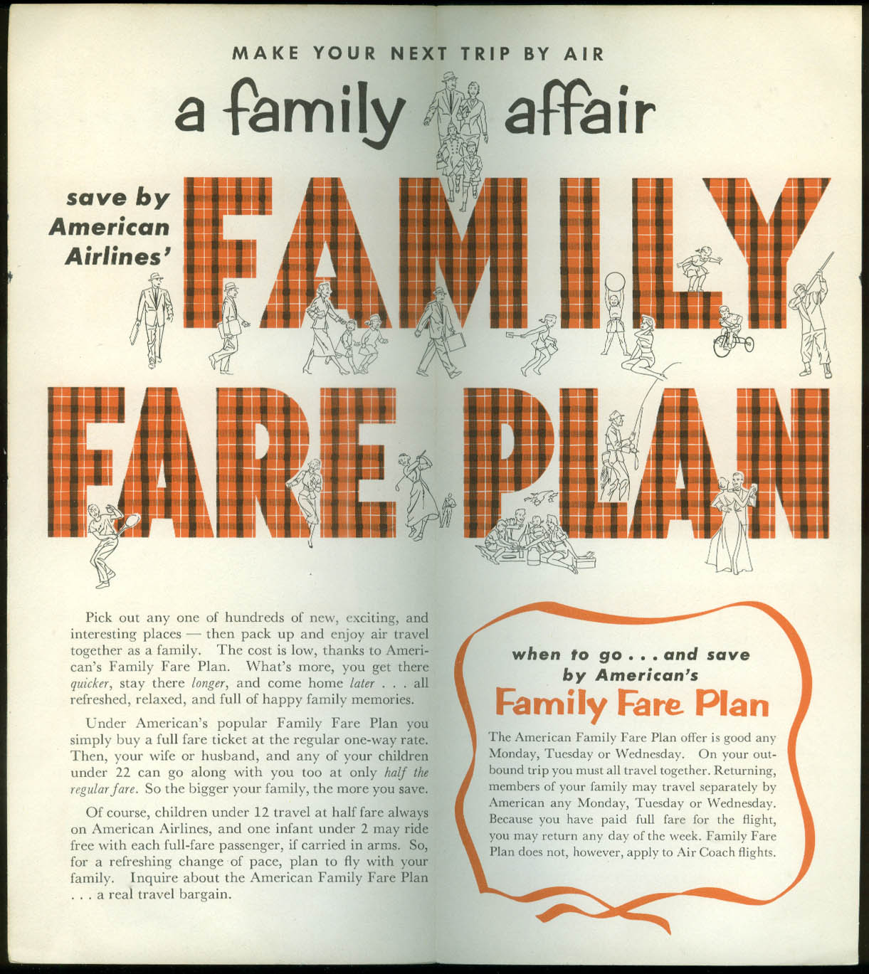 American Airlines Be Thrifty Family Fare Plan airline folder 1955