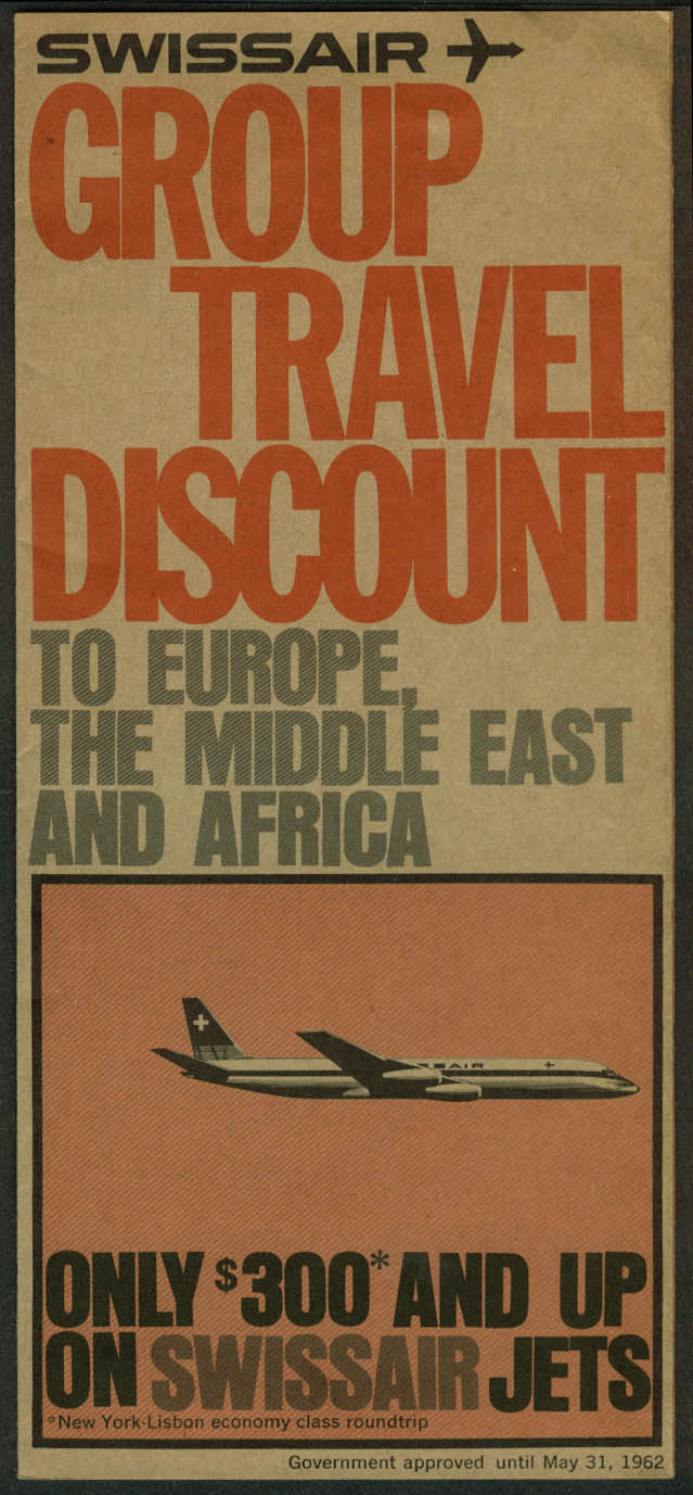Swissair Group Travel Discount Plan airline folder 1962