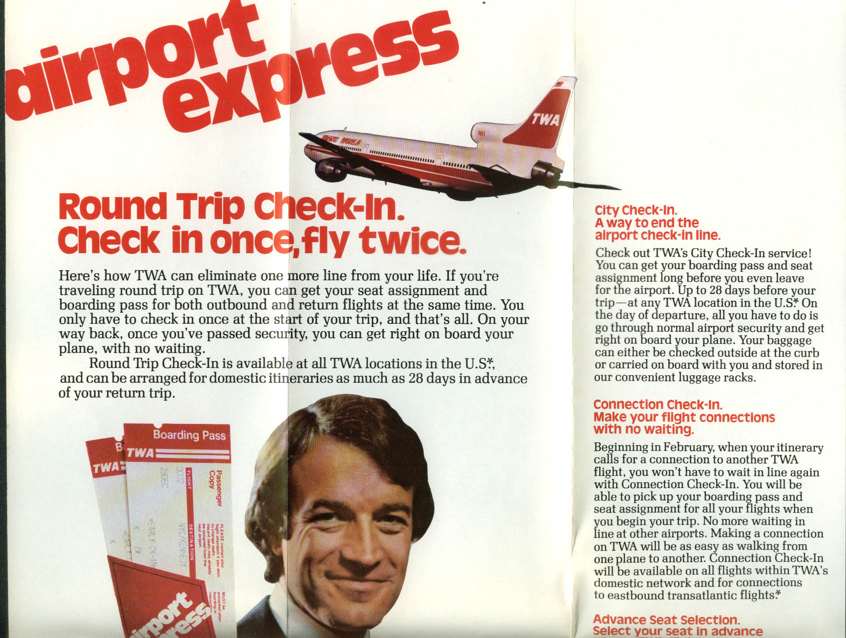 TWA Trans World Airlines Airport Express Check-in airline folder 1970s