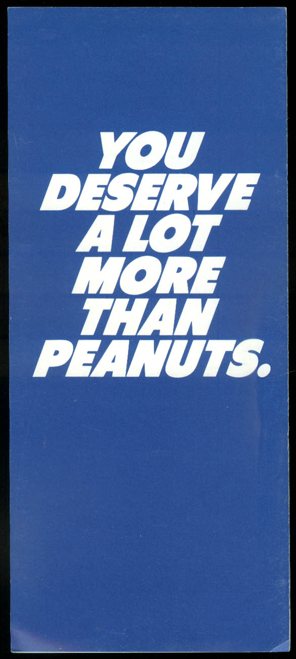 Pan Am Express You deserve more than peanuts airline folder 1980s