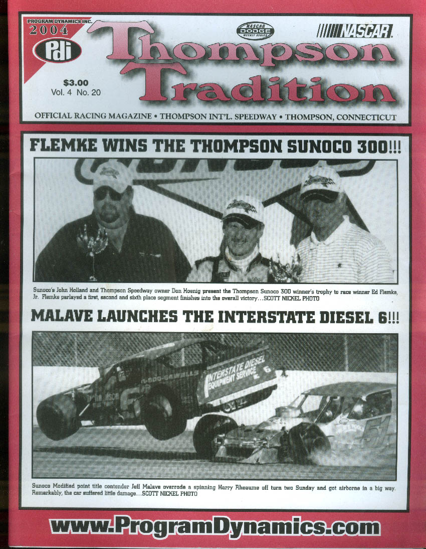 Thompson Motor Speedway TRADITION V4n20 race program 2004 Sunoco 300