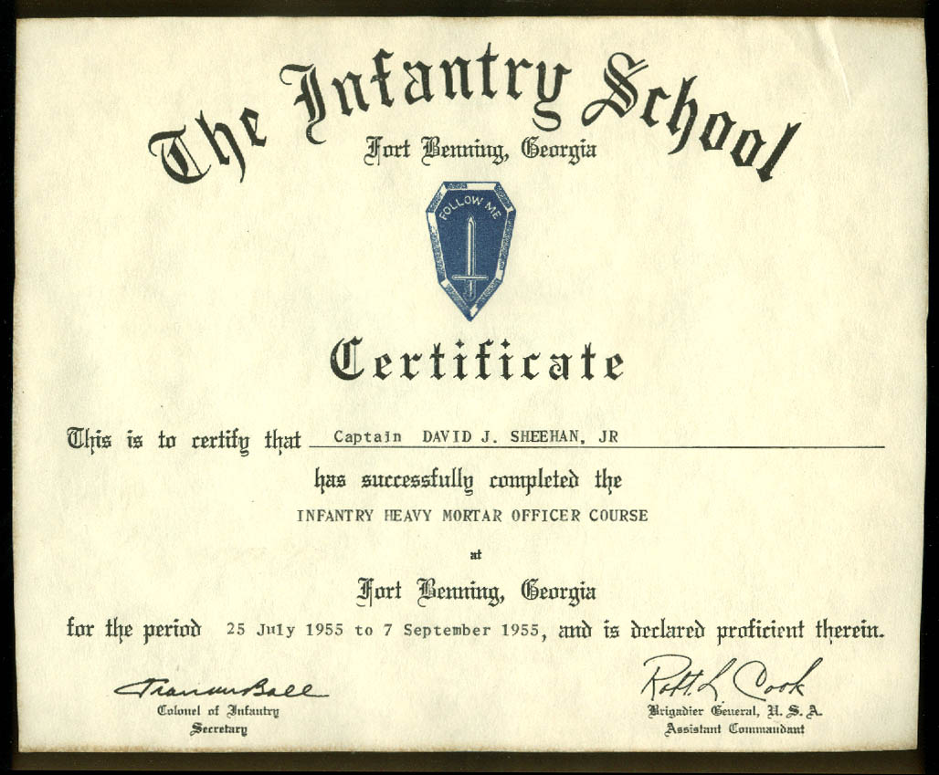 Fort Benning Infantry School Certificate Heavy Mortar Officer Course 1955