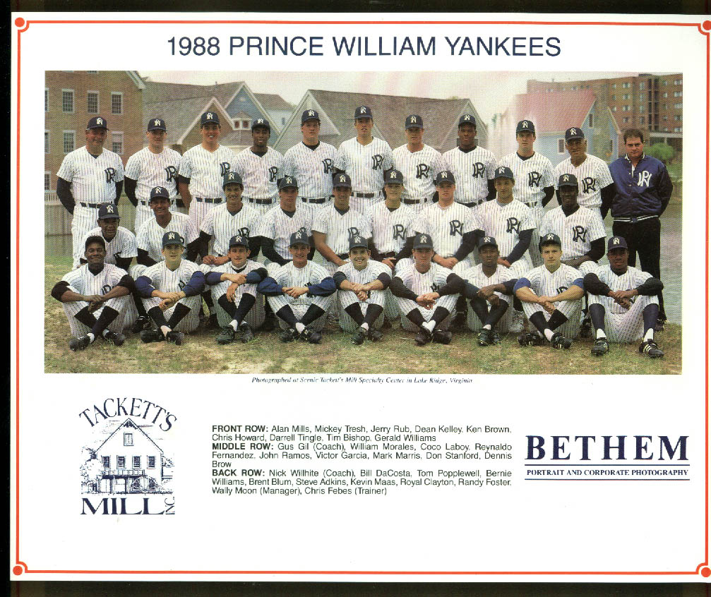 1988 Prince William Yankees team picture Bernie Williams Coco Laboy +