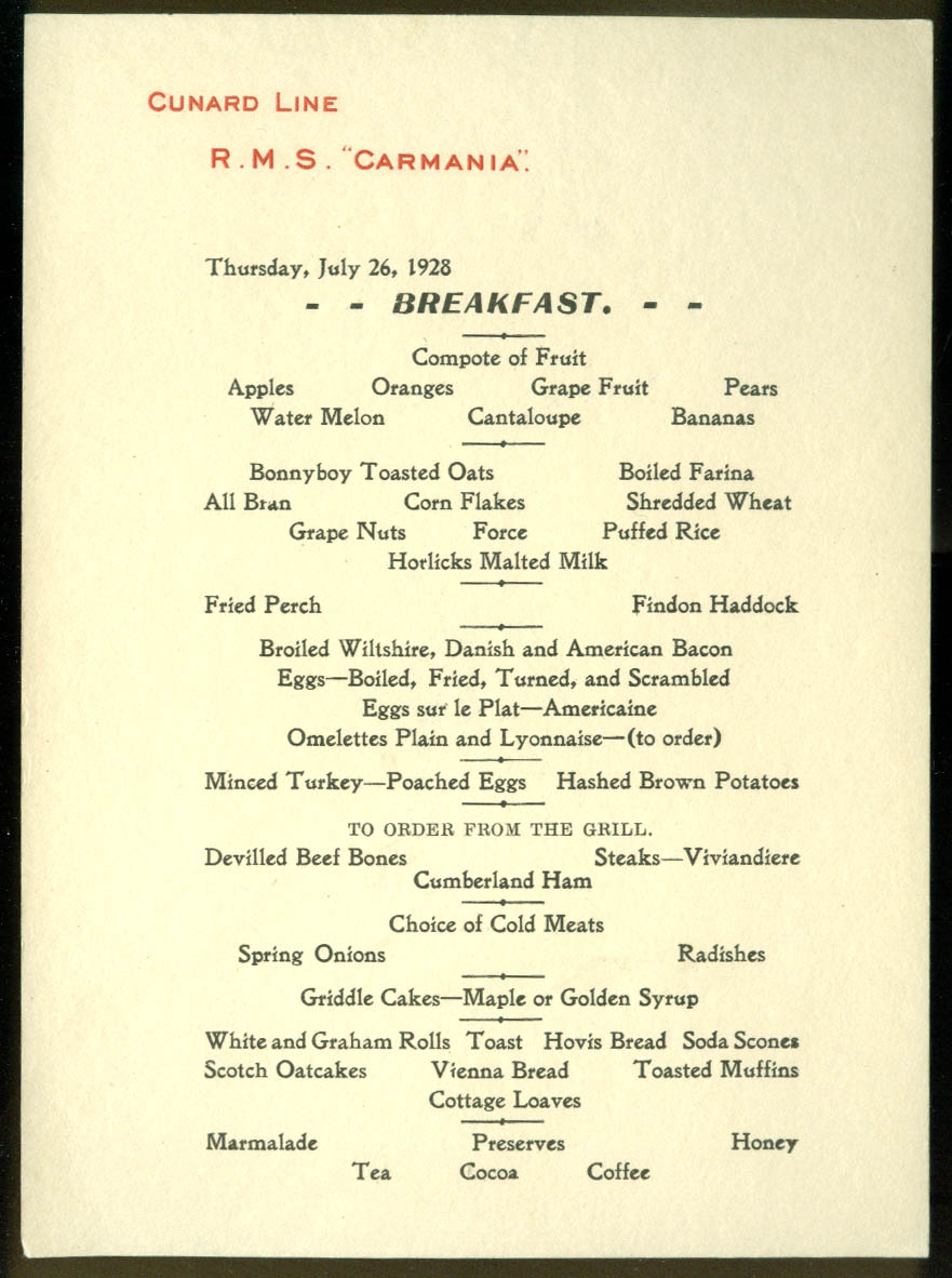 Cunard Line R M S Carmania Breakfast Menu Card 7/26 1928