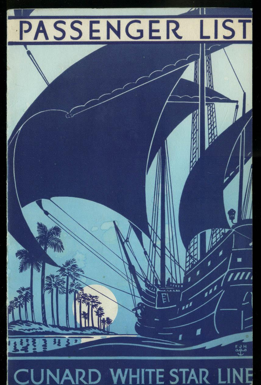 Cunard White Star M V Georgic West Indies Cruise Passenger List 4/3 1935