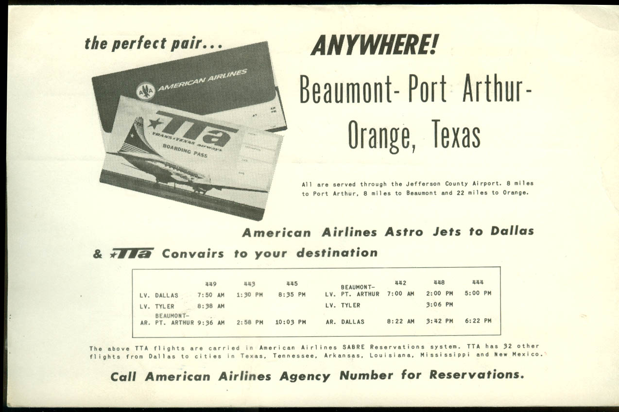 Trans Texas Airways Beaumont-Port Arthur-Orange postcard timetable 1965