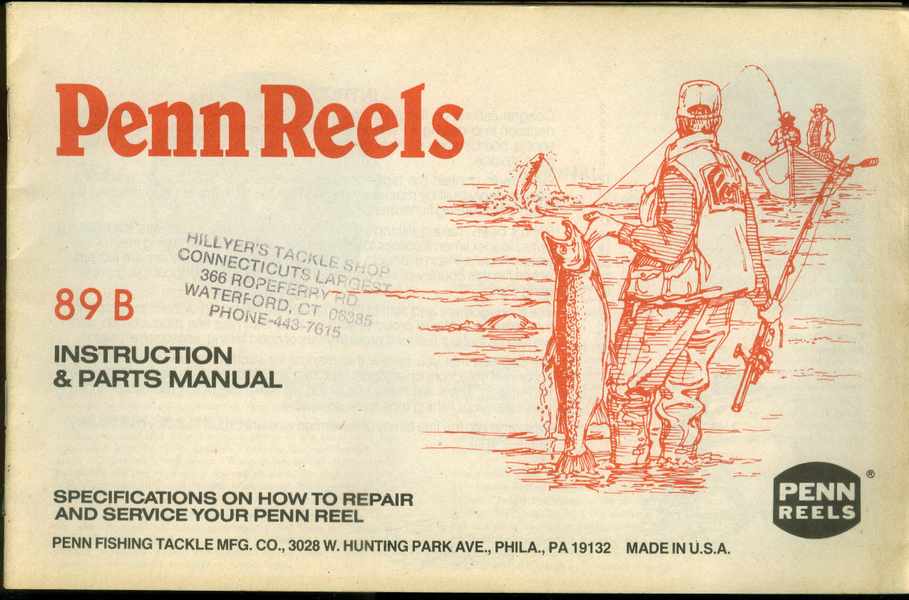Penn Fishing Reels Model 89B Instruction & Parts Manual & Catalog 1989