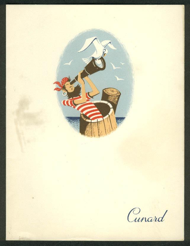 Cunard Line R M S Mauretania Dinner Menu 9/4 1958
