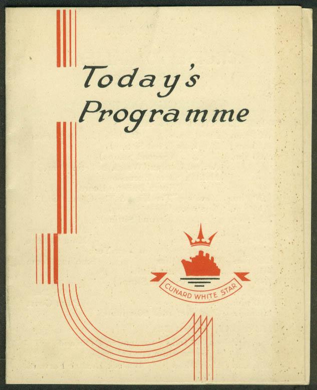Cunard White Star Line M V Georgic Cruise to Halifax Daily Programme 8/2 1937