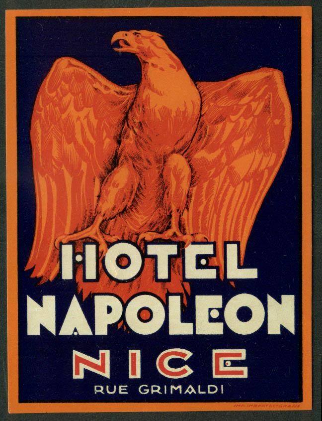 """Hotel Napoleon Nice France baggage sticker unused 1950s 4 x 5 1/4"""" ungummed"""