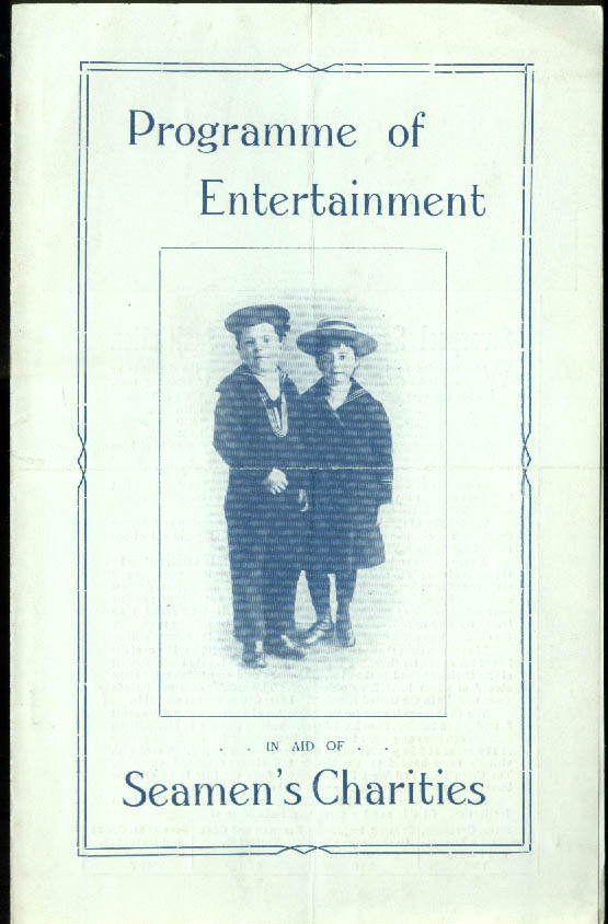 Cunard Line R M S Caronia Seamen's Charities Entertainment Programme 1919