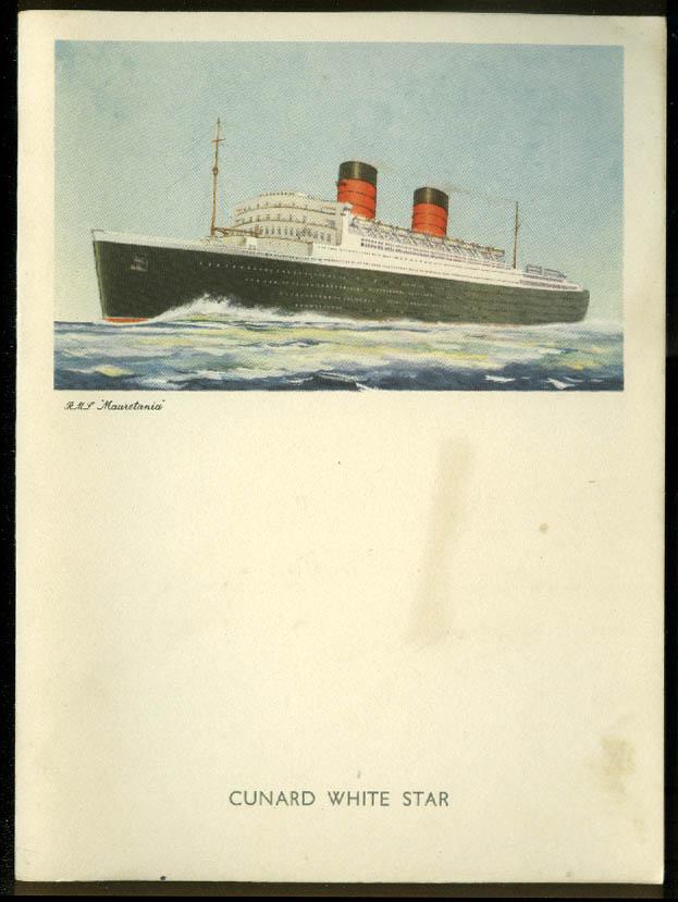Cunard White Star R M S Mauretania Gala Dinner Menu 9/8 1958