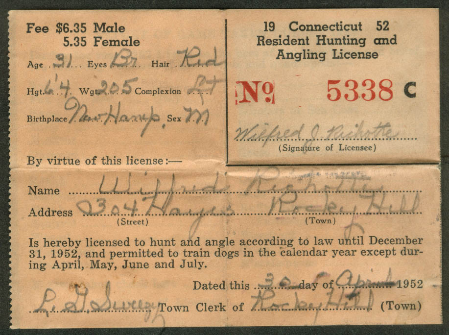 Connecticut Resident Hunting Angling Fishing License 1952