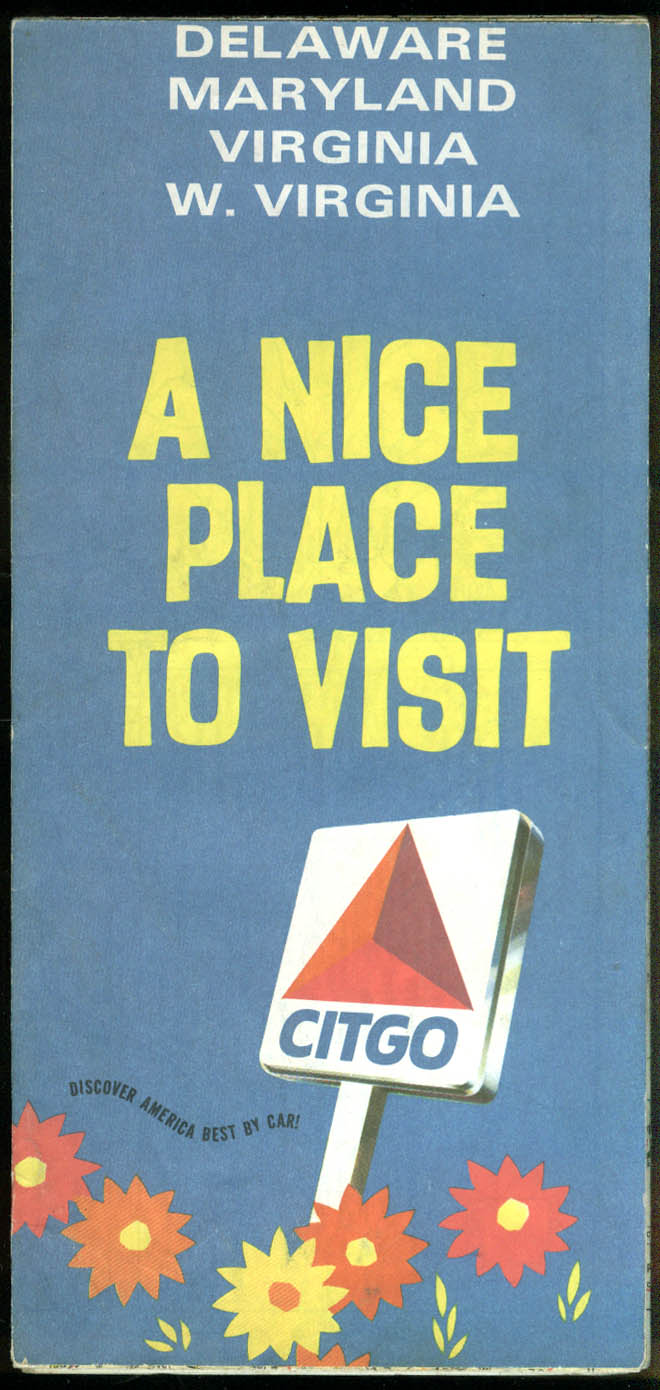 Citgo Gasoline Road Map Delaware Maryland West Virginia 1960s