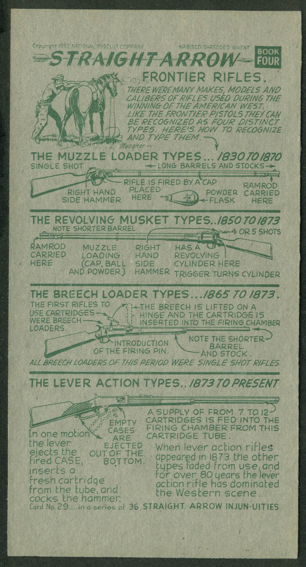 Nabisco Straight Arrow Card Book 4 #29 Frontier Rifles 1952