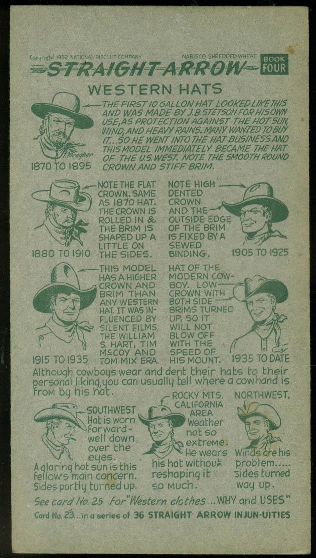 Nabisco Straight Arrow Card Book 4 #23 Western Hats 1952