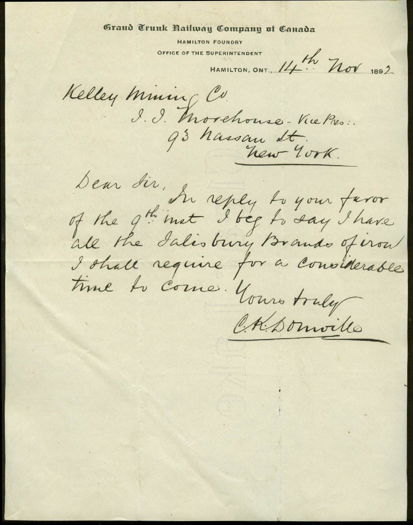 Grand Trunk Railway of Canada Hamilton Foundry letter re: iron 1892 ON