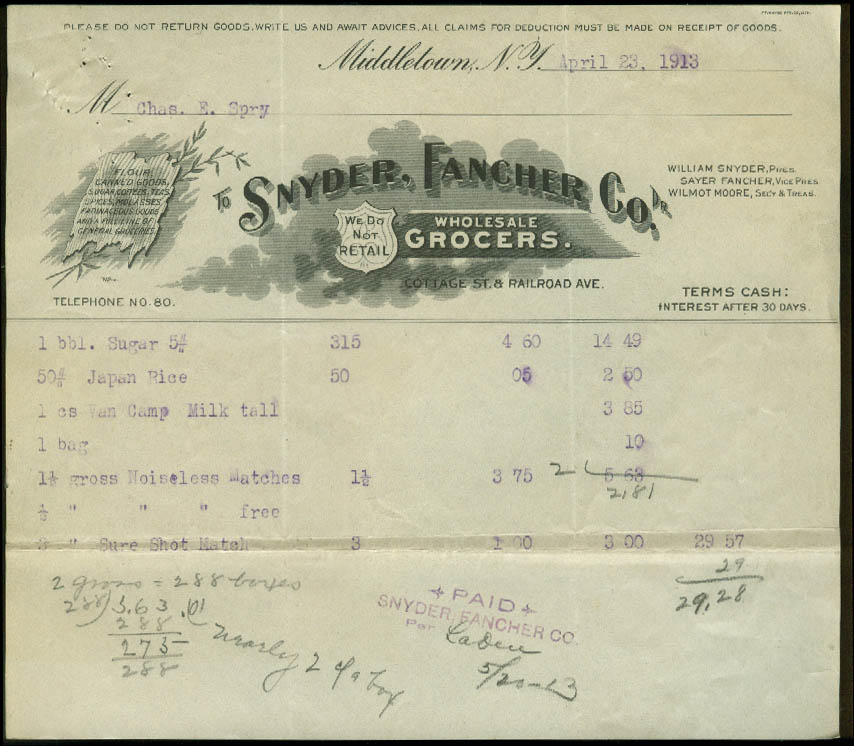 Snyder Fancher Co Wholesale Grocers Middletown NY invoice 1913