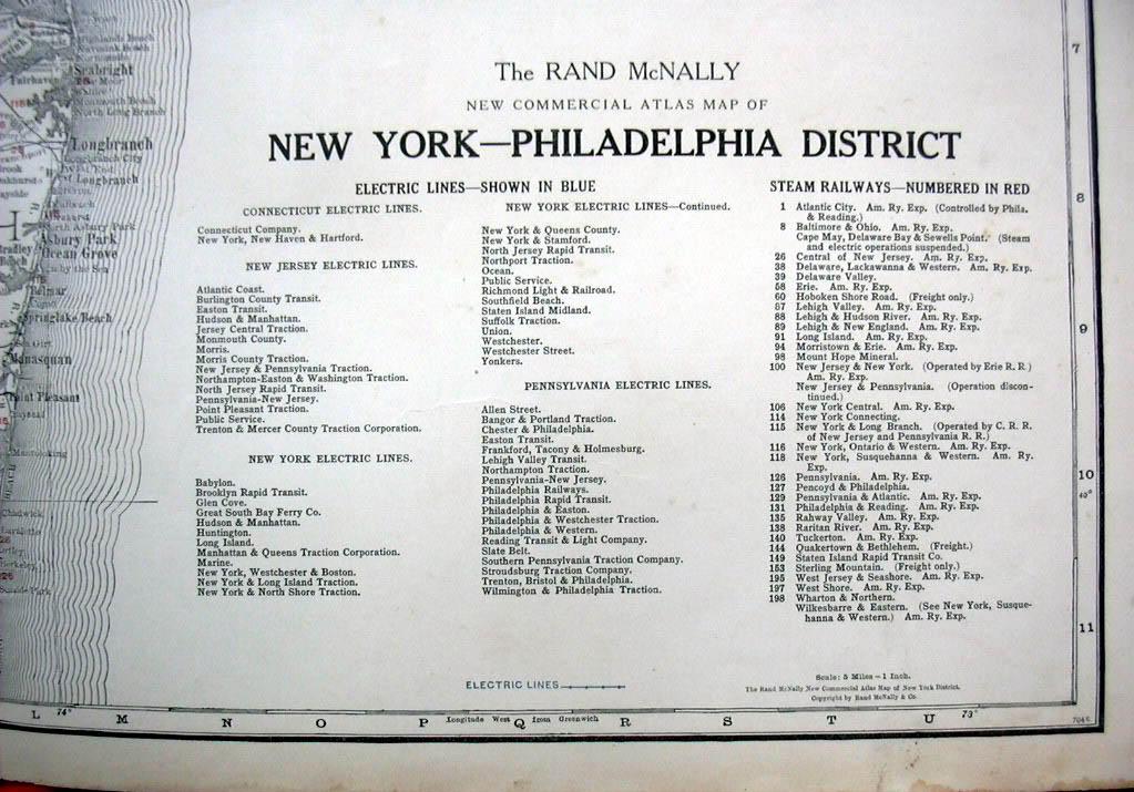 Rand McNally Commercial Atlas Map NY-Philadelphia District w/ railroads ca 1915
