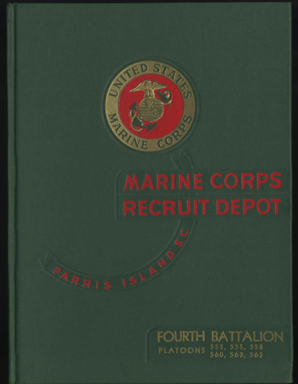 USMC Marine Corps Depot Parris Island Class Book 4th Battallion 1952