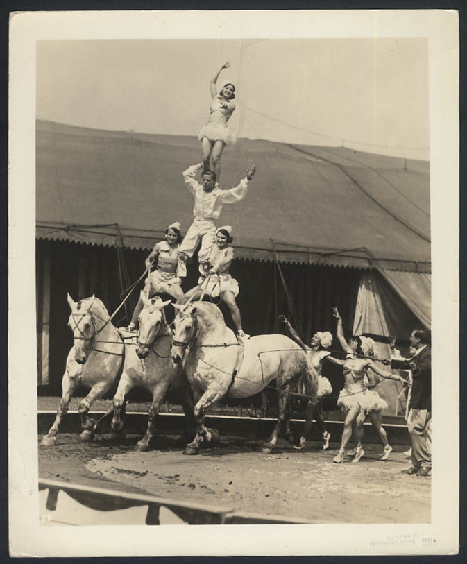 Loyal Repenesky Bareback Riding Troupe circus act photo ca 1940s